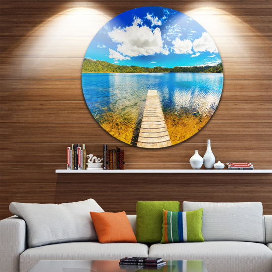 Design Art Lake with Pier Panorama Disc Photography Circle Metal Wall Art