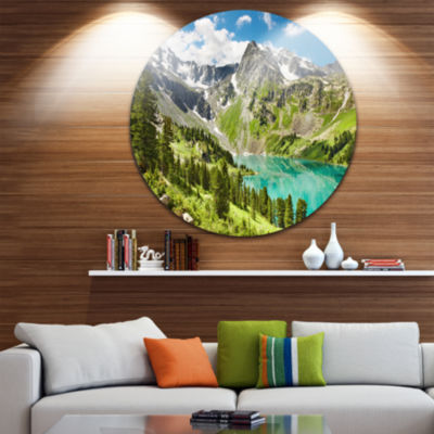 Design Art Lake on Green Valley Disc Photography Landscape Circle Metal Wall Art