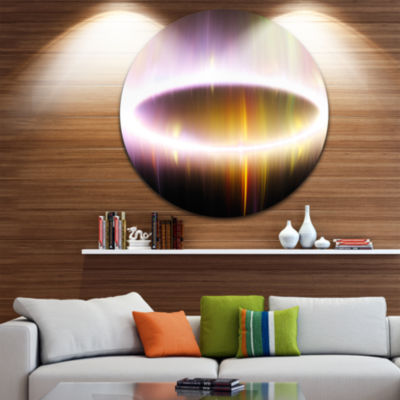Design Art Large Oval of Northern Lights AbstractArt on Round Circle Metal Wall Decor Panel