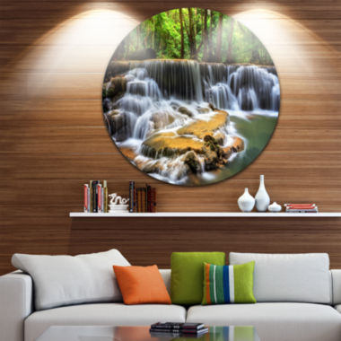 Design Art Level Six of Huai Mae Kamin Waterfall Disc Circle Metal Wall Art