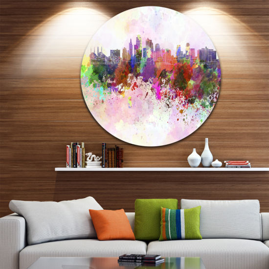 Design Art Kansas City Skyline Disc Cityscape Metal Artwork Print
