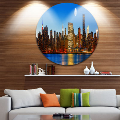 Design Art Late Evening NYC Skyline Panorama Cityscape Photo Circle Metal Wall Art