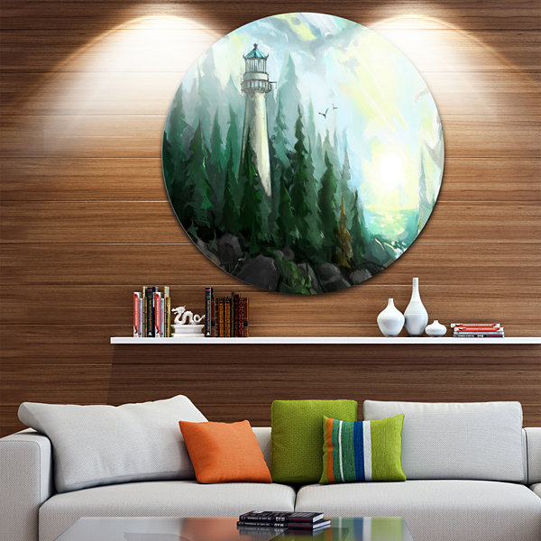 Design Art Landscape with River and Trees Disc Painting Circle Metal Wall Art