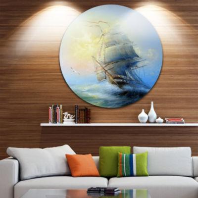 Design Art Large Sailing Boat Seascape Circle Metal Wall Art