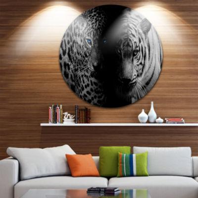 Design Art Leopard and Tiger in Black Animal Circle Metal Wall Art