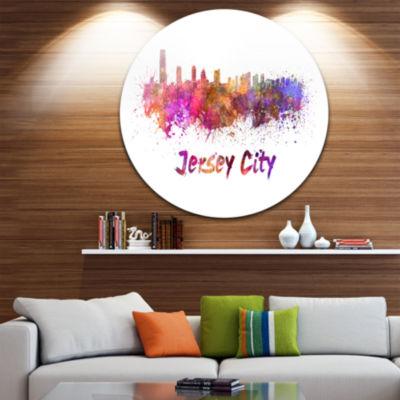 Design Art Jersey City Skyline Disc Cityscape Metal Artwork Print