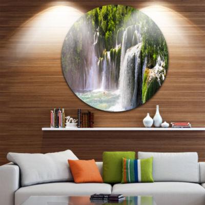 Design Art Krka Waterfall Landscape Disc AbstractMetal Artwork