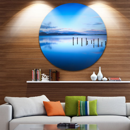 Design Art Jetty Remains in Blue Sea Seascape Circle Metal Wall Art