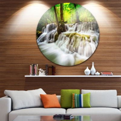 Design Art Level Five of Erawan Waterfall Disc Landscape Circle Metal Wall Art