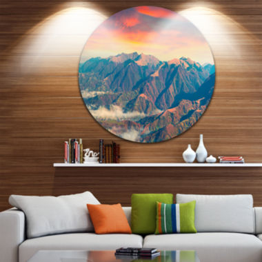 Design Art Kolochava Village in Morning LandscapeDisc Photography Circle Metal Wall Art