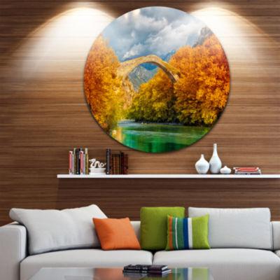 Design Art Konitsa Bridge Disc Photography CircleMetal Wall Art