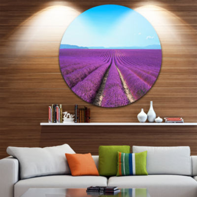 Design Art Lavender Flower Blooming Fields Disc Abstract Metal Artwork