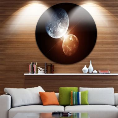 Design Art Kiss Between Two Planets Spacescape Circle Metal Wall Art