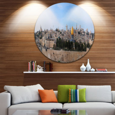 Design Art Jerusalem Cityscape Panorama Disc Photography Circle Metal Wall Art