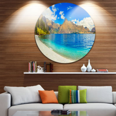 Design Art Lake Wakatipu Landscape Disc Photography Circle Metal Wall Art