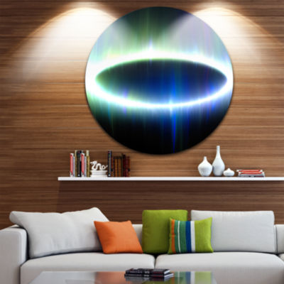 Design Art Large Blue Oval Fractal Light AbstractRound Circle Metal Wall Decor
