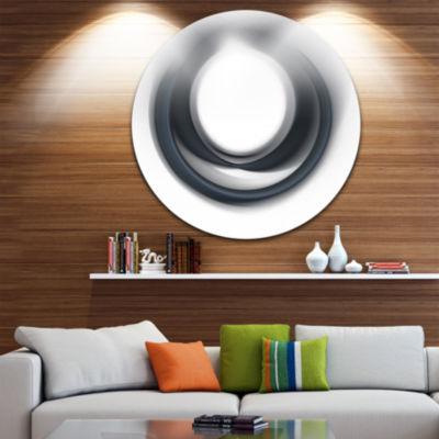 Design Art Large Fractal Black Circle on White Abstract Round Circle Metal Wall Decor Panel
