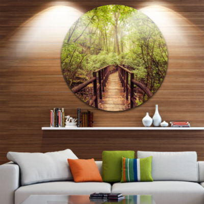 Design Art Jungle in Vintage Style Landscape Photography Circle Circle Metal Wall Art