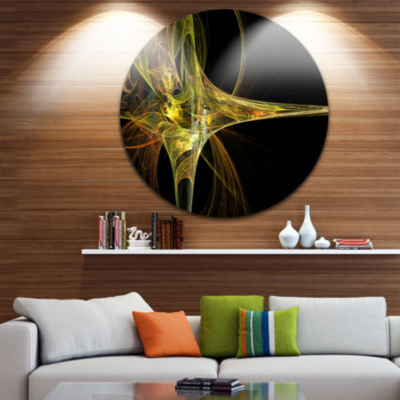 Design Art Large Fractal Artwork Yellow Abstract Circle Metal Wall Art