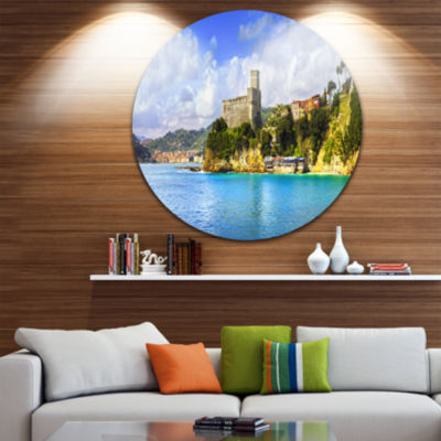 Design Art Lerici Village Panorama Seascape CircleMetal Wall Art