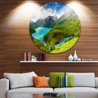 Design Art Lake amidst Lush Greenery Disc Photography Circle Metal Wall Art