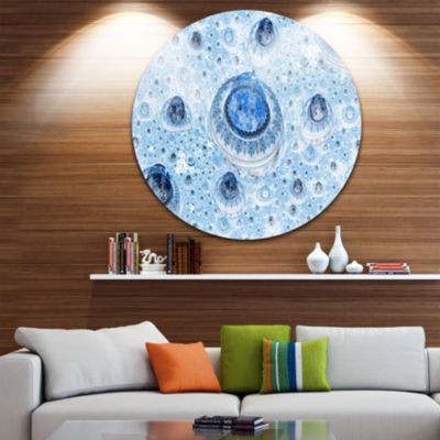 Design Art Light Blue Fractal Exotic Planet Abstract Round Circle Metal Wall Decor
