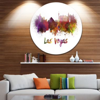 Design Art Las Vegas Skyline Disc Large CityscapeMetal Artwork Print