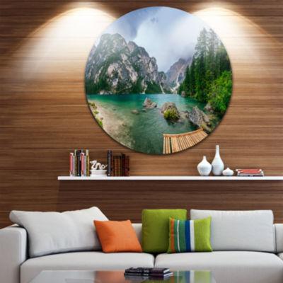 Design Art Lake Between Mountains Landscape Photography Circle Metal Wall Art