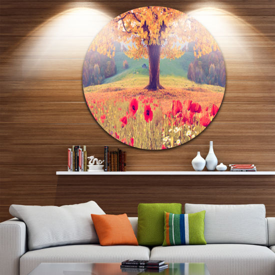 Design Art Landscape with Poppy Flowers Disc Photography Circle Metal Wall Art