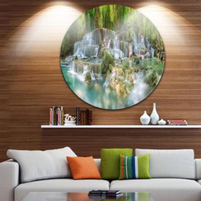Design Art Level 6 of Huaimaekamin Waterfall DiscLandscape Circle Metal Wall Art