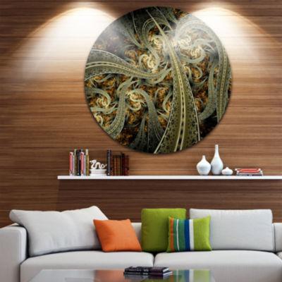 Design Art Metallic Fabric Pattern Disc Large Contemporary Circle Metal Wall Arts