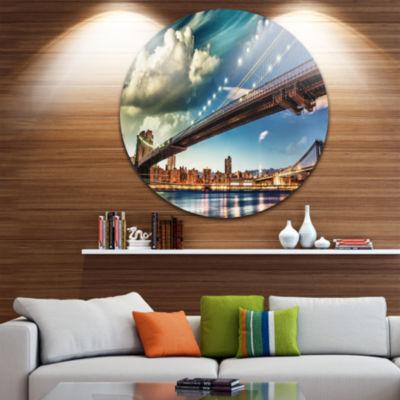 Design Art Manhattan Skyline at Summer Disc Cityscape Photo Circle Metal Wall Art
