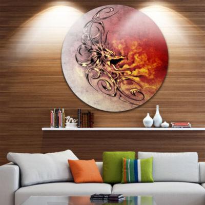 Design Art Medieval Dragon Tattoo Sketch Large Contemporary Circle Metal Wall Arts