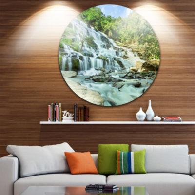 Design Art Maeyar Waterfall Disc Landscape Photography Circle Metal Wall Art