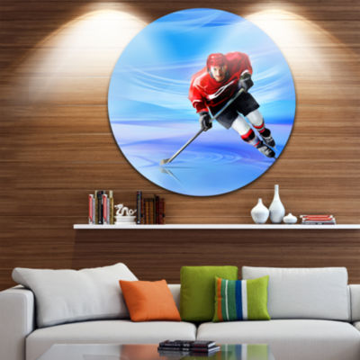 Design Art Male Hokey Player Abstract Portrait Circle Metal Wall Art