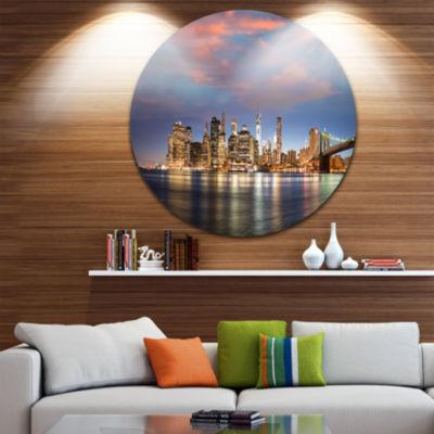 Design Art Manhattan at Nighttime Disc Cityscape Photography Circle Metal Wall Art