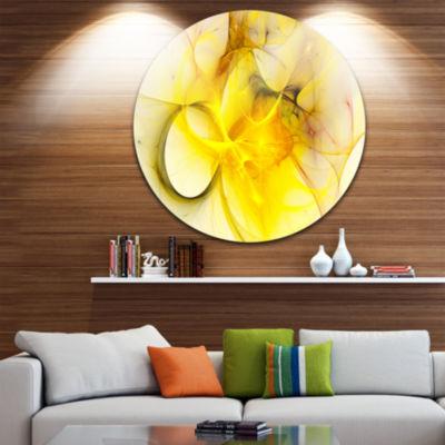 Design Art Light Yellow Nebula Star Disc AbstractCircle Metal Wall Art