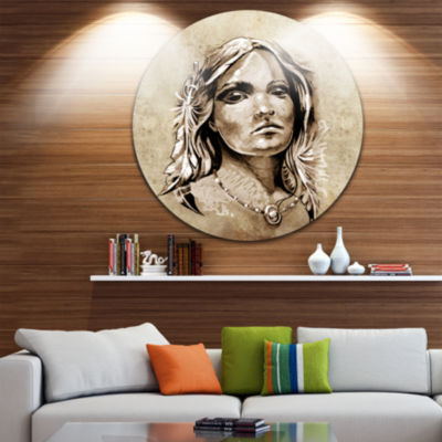 Design Art Lovely and Passionate Look Abstract Portrait Circle Metal Wall Art