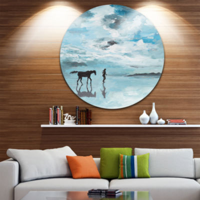 Design Art Man and Horse Running on Water SeascapeCircle Metal Wall Art