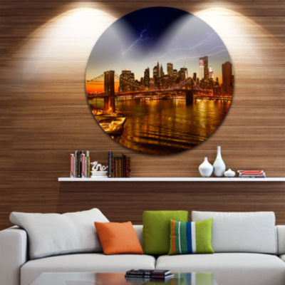 Design Art Manhattan Sunset on East River Disc Cityscape Photo Circle Metal Wall Art