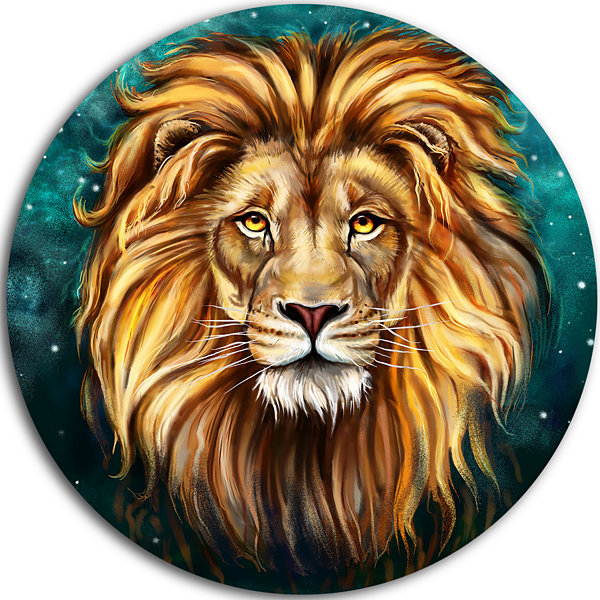 Design Art Lion Head in Blue Animal Circle Metal Wall Art