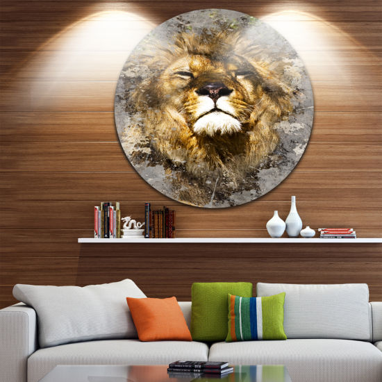 Design Art Lion Head with Textures Disc Animal Circle Metal Wall Art