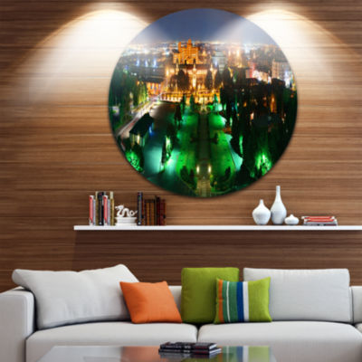 Design Art Lighted Montreal City at Night Disc Cityscape Photo Circle Metal Wall Art