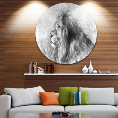 Design Art Lion Tattoo Illustration Art Disc LargeContemporary Circle Metal Wall Arts