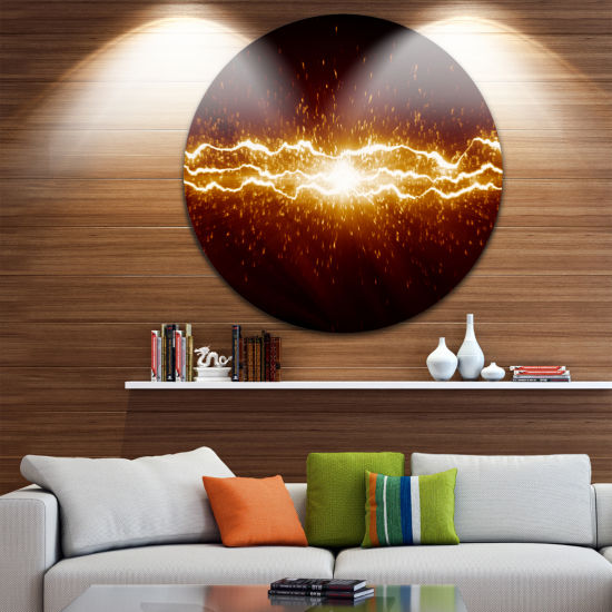 Design Art Lightning on Dark Sky Disc ContemporaryCircle Metal Wall Art