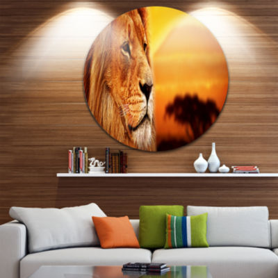 Design Art Lion Portrait on Savanna Animal Disc Photography Circle Metal Wall Art