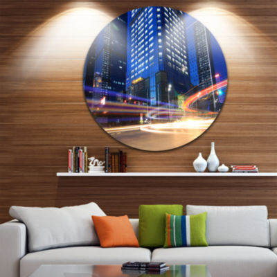 Design Art Light Trails in Blue City Cityscape Contemporary Circle Circle Metal Wall Art