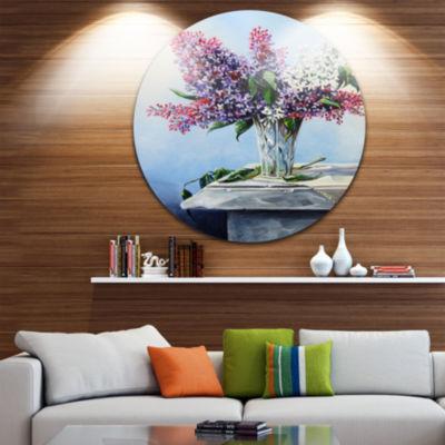 Design Art Lilac Bouquet Disc Floral Circle MetalWall Art