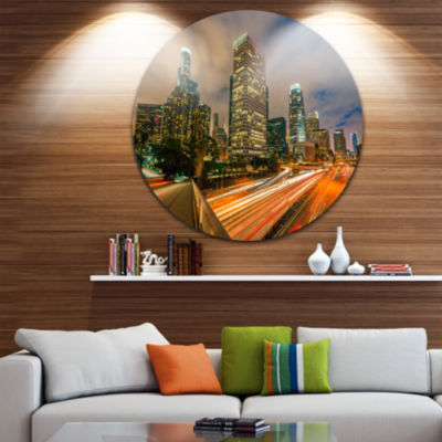Design Art Los Angeles Yellow Skyline Night Disc Cityscape Circle Metal Wall Art