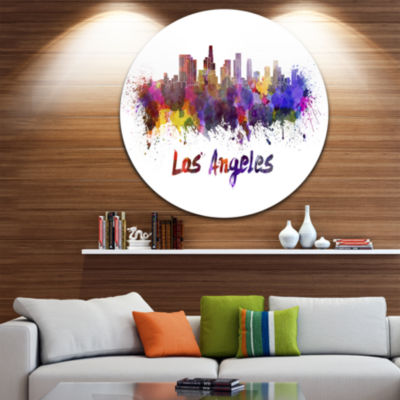 Design Art Los Angeles Skyline Disc Cityscape Metal Artwork Print